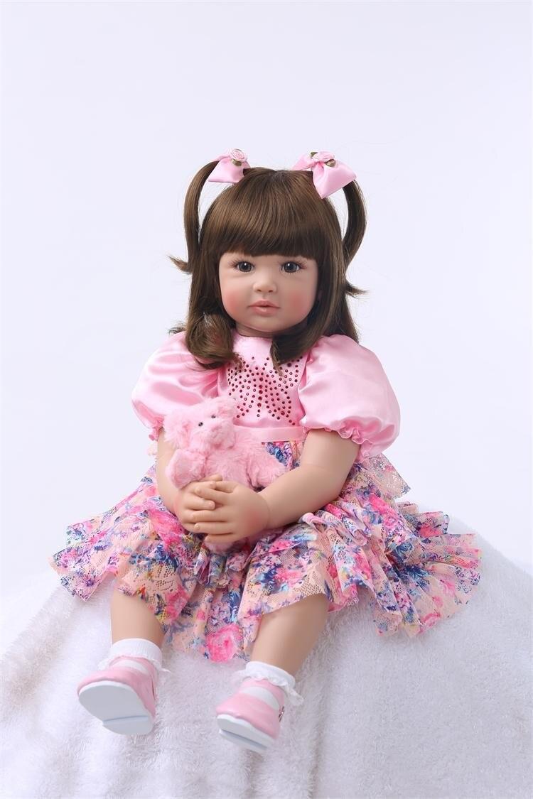 Braid girl 61cm Soft body silicone reborn girl baby dolls like real alive vinyl newborn Babies doll bebe reborn girls best birth