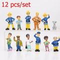 New 12 Pcs/Set Fireman Sam action figure toys 3-6cm Cute Cartoon PVC Dolls For Kids Christmas Gift Brinquedos Collectible Model