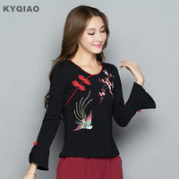 KYQIAO Plus Size Women Clothing 2017 Female Autumn Winter Chinese Ethnic M 3xl Red Black Floral