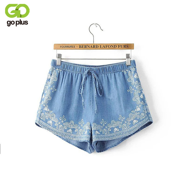 GOPLUS New Arrival 2017 Summer Women Floral Printed Blue Denim Shorts Feminine Casual Elastic Waist Short Jeans Shorts Femme