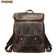 PNDME vintage genuine leather mens backpack designers large capacity bagpack luxury crazy horse cowhide travel laptop bookbag