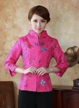 Free shipping ! Fashion Hot pink Chinese Women's clothing Polyester satin Blouses Shirt tops Size M L XL XXL XXXL 4XL TM3-A