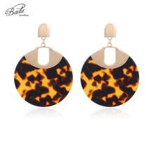 Badu Leopard Acetic Acid Earrings for Women Big Round Acrylic Pendant Drop Earring Statement Jewelry Gift Girls Wholesale