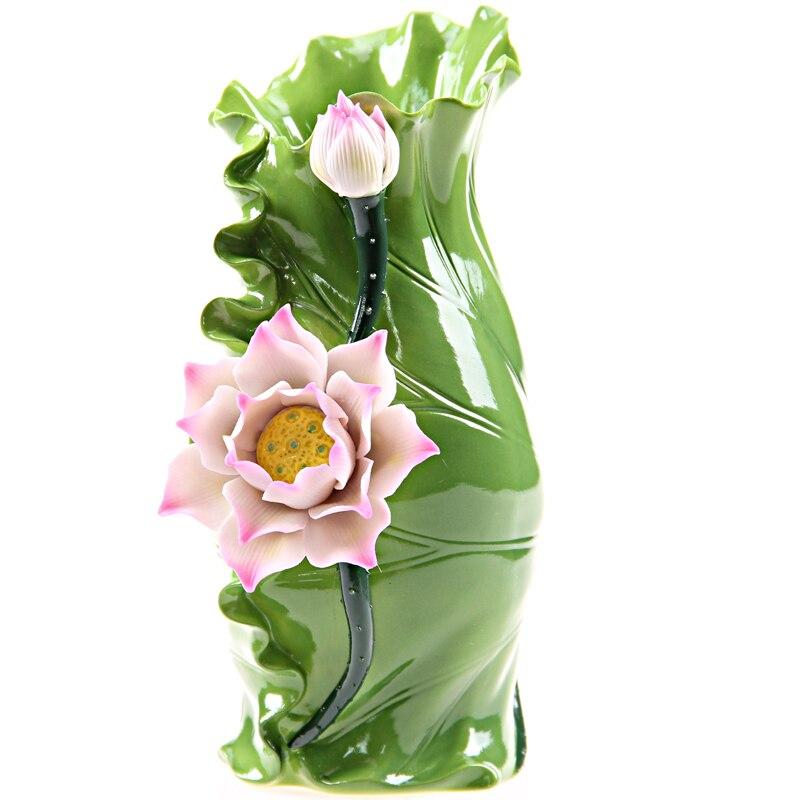 Vase à fleurs et feuilles de Lotus chinois traditionnel céramique décorative Art populaire personnalisé et artisanat ornement accessoires embellissement