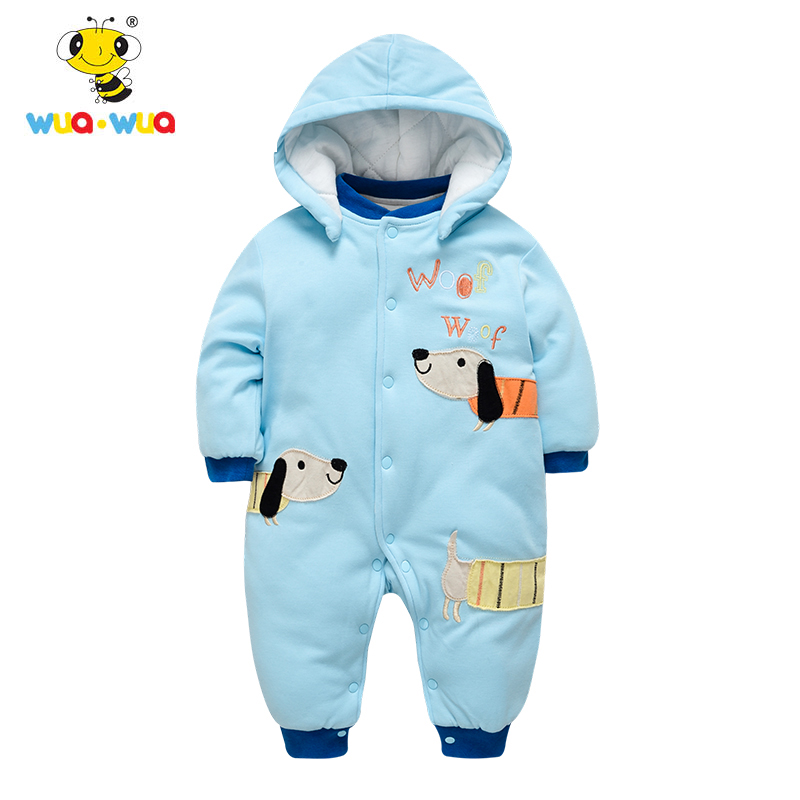 WuaWua Baby Boy Girls Jumpsuit  Cotton Hooded Bodysuit Winter Warm Infant Design Baby Clothes Footies Baby One-piece Kids Cloth