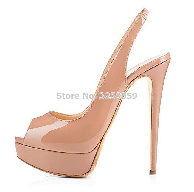 ALMUDENA Elegant Nude Patent Leather Peep Toe Pumps Slingback Elastic Band Dress Shoes Stiletto Heels Platform Party Shoes Pumps