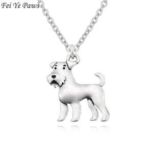 Vintage Boho Airedale Terrier & Schnauzer Dog Charm Pendant Necklace For Women Men Jewelry Pet Gift Stainless Steel Long Chain(China)