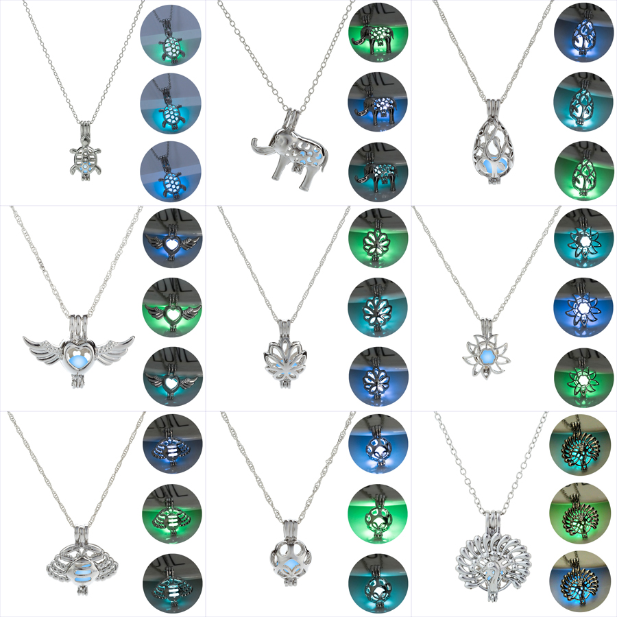 Светится в темноте ожерелья для женщин Павлин Краб Цветок Ангел падение Тип слон Черепаха светящиеся бусины клетка кулон ювелирные изделия