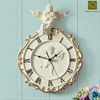 Angel Simple Resin Wall Clock Art Craft Silent Wall Watch Circular Home Decor Hartsi Vintage Clocks Decorative Tools WKP080
