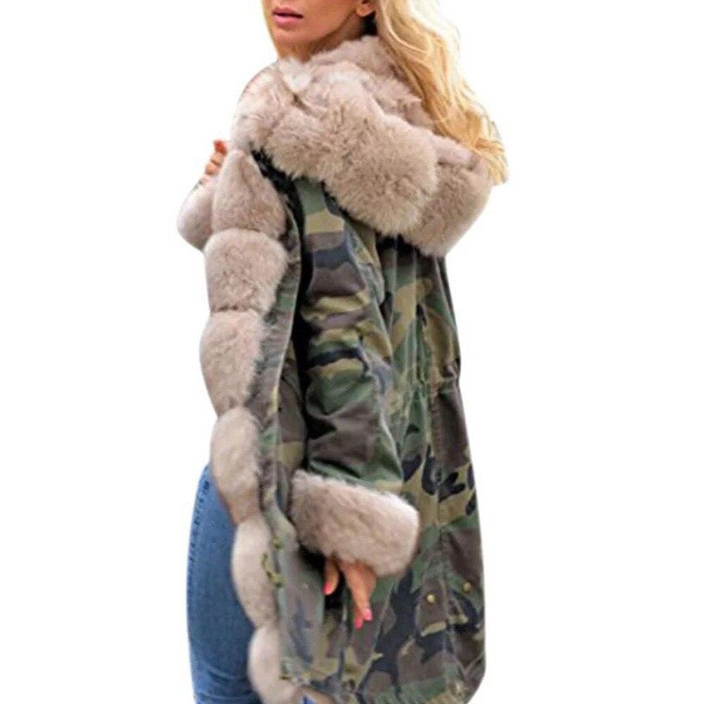 Plus size Womens Faux Fur Winter Jacket Parka Hooded Coat Fishtail Long Sleeves Overcoat women Fashion winter warm Coat