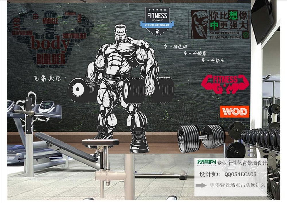 Custom Photo wallpaper 3d Gym mural wall paper HD Retro Vintage Sports Fitness Club Weightlifting Background Decorative Wall