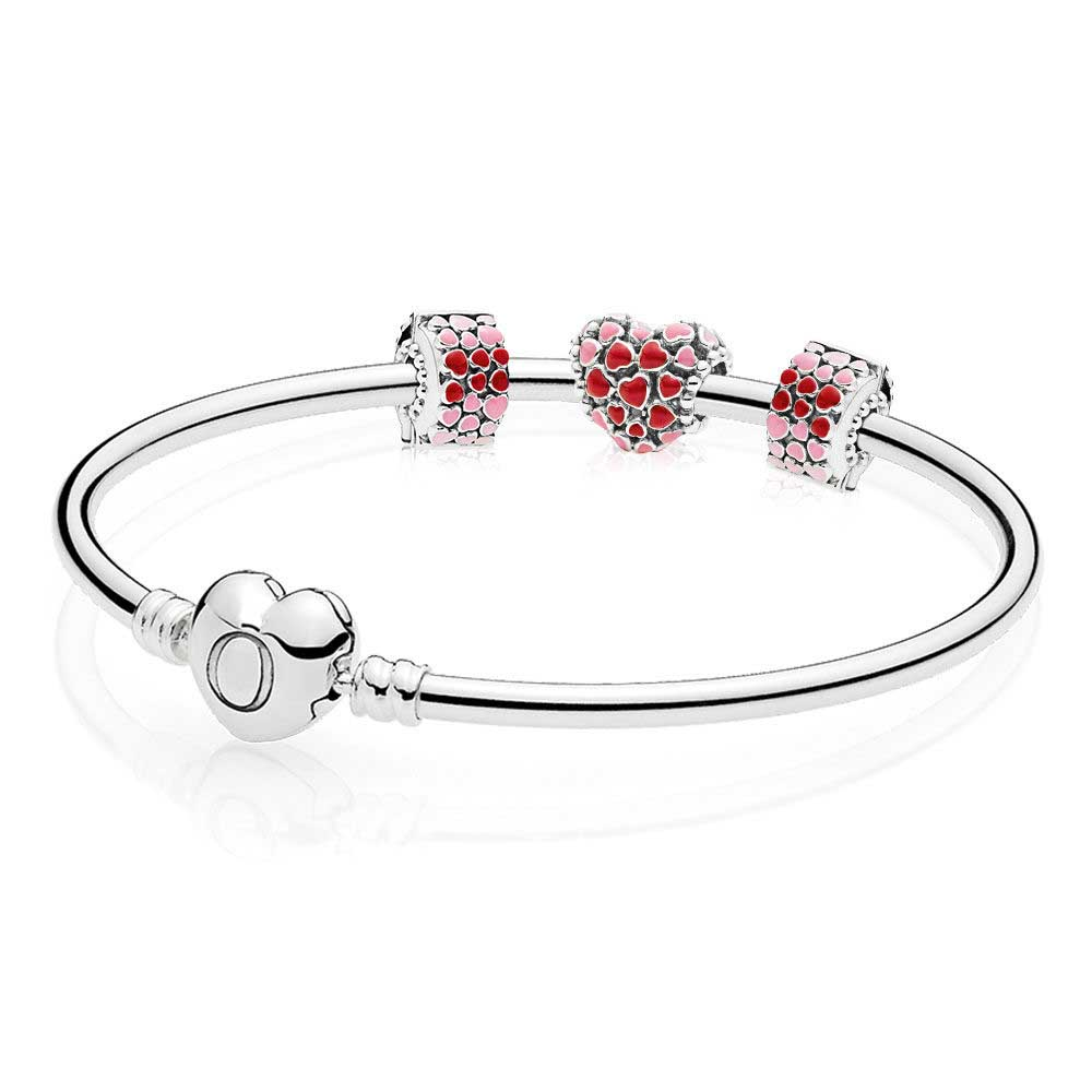 100% 925 Sterling Silver Burst Of Love Bracelet Gift Set Clear CZ Fit DIY Original Charm Bracelets jewelry A set of Prices 100% 925 sterling silver you and me bangle gift set clear cz fit diy original charm bracelets jewelry a set of prices