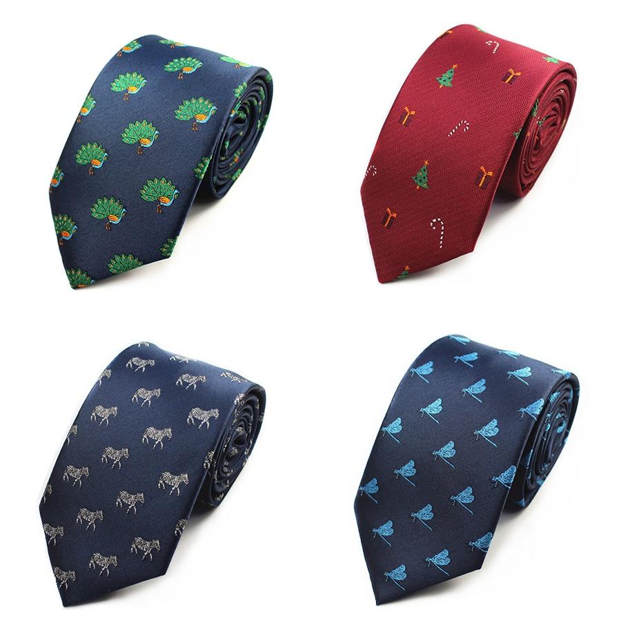 Animal Pattern Mens Ties Silk Jacquard Weave Chirstmas Tie Slim Necktie Gravata Classic Fashion Business Wedding Tie For Men leather