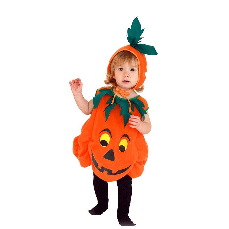 Toddler Baby Pumpkin Halloween Cosplay Costumes Sleeveless Pumpkin Jumpsuit Set Top Hat Kids Party Fancy Dress Outfit