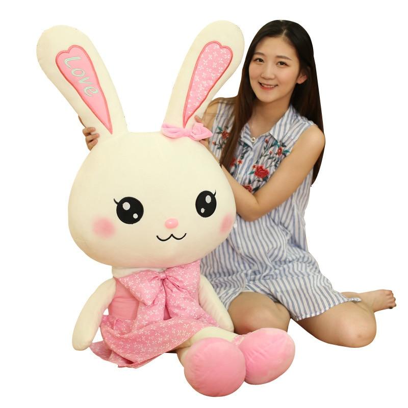 Giant Valentine's Day Love Dress Rabbit Plush Dolls 80/100cm Stuffed Animal Anime Kawaii Bunny Soft Toys Girl Favorite Gift F070 19 colors option hot rabbit animal dolls 18 cm pendant plush toys high quality rabbit plush soft feeling send children as gift