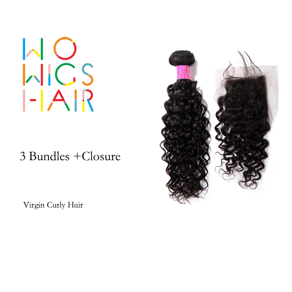 WoWigs Hair Brazilian Virgin Hair Curly 3 Bundles Deal With Top Lace Closure Natural Color 1B
