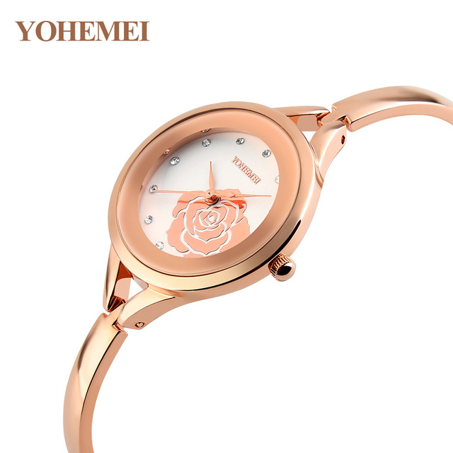 Mulheres Marca De Luxo Relógio De Quartzo Flores YOHEMEI Senhoras Mostrador Analógico Pulseira Relógio Mulheres Mulher Relógio Montre Femme De Marque
