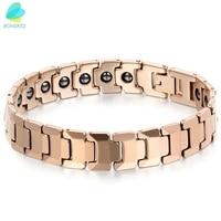 BONISKISS Rose Gold Men Tungsten Bracelets Health Balance Bracelet With Energy Magnetic Stone with Gift Bag