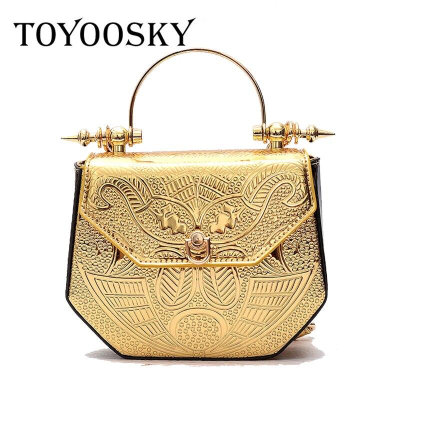 TOYOOSKY designer bag 2017 creative patent Leather metal Handbag Embossed Satchel Bag chain crossbody shoulder bags