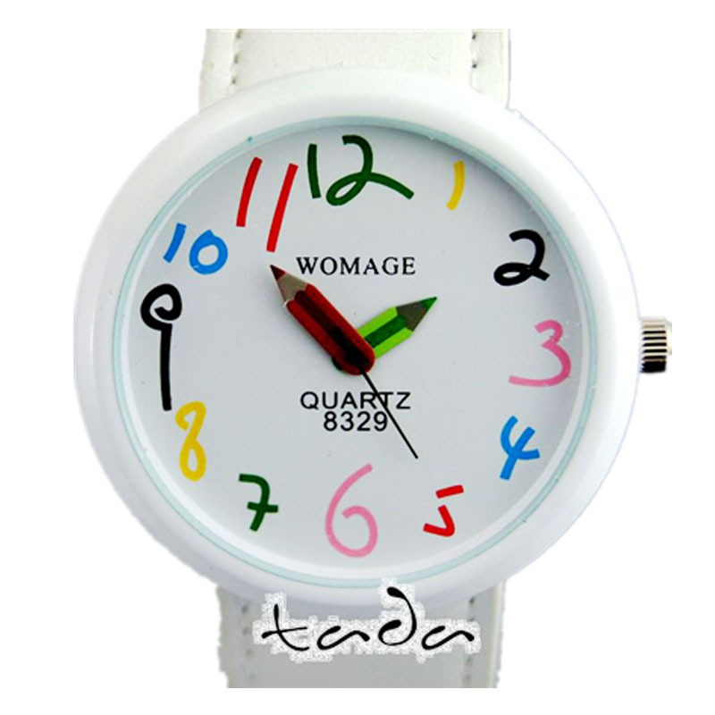 hoge kwaliteit cartoon potlood handgekleurde nummer grappig horloge lederen band mode womage potlood pointer Vrouwen quartz horloge