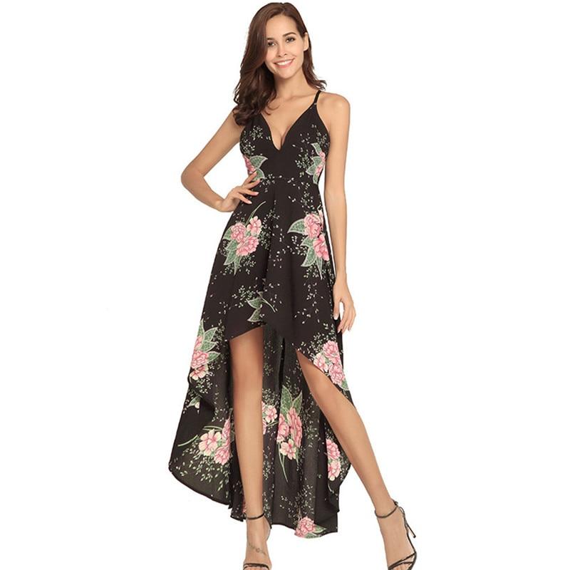 0fd8cd44407b ... Floral Flower Print Asymmetrical Dress Women Summer Dress: Bohemian Floral  Print Ankle Maxi Women Dress