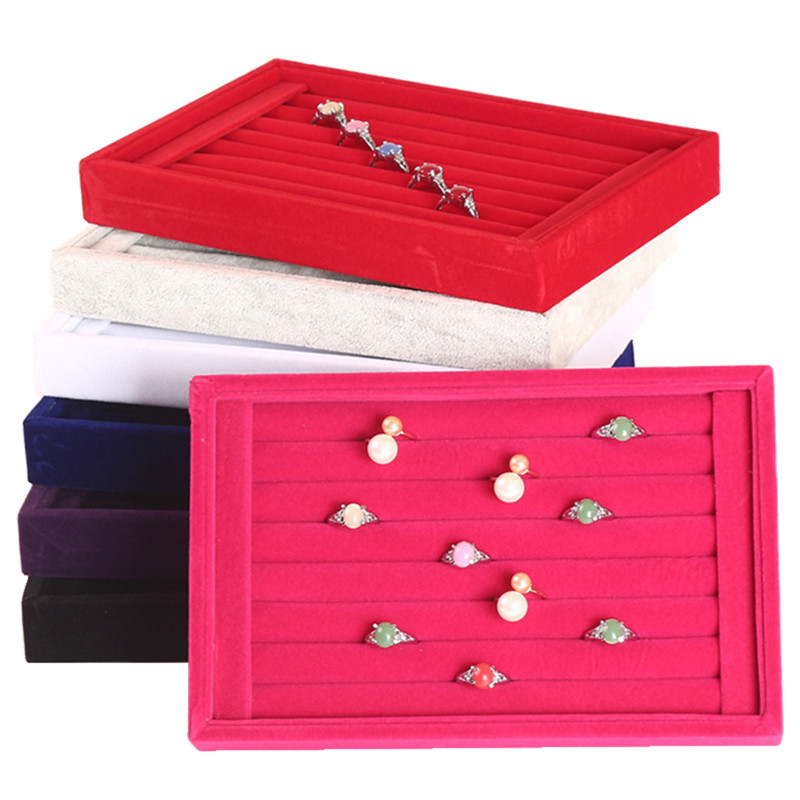 New Fashion Jewelry Display Velvet And PU Slots Earring Ring Tray Organizer Holder Case Box Wholesale Storage Ring Earring Key