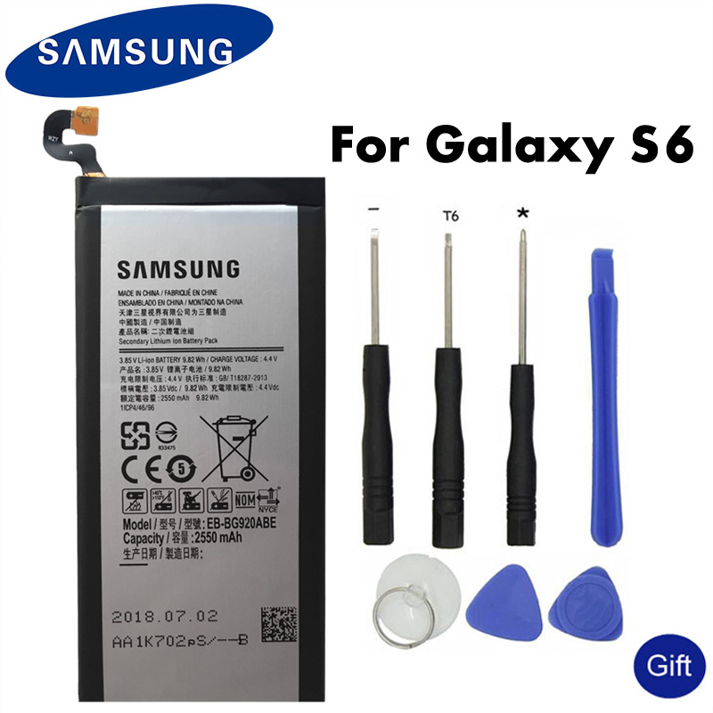 Original SAMSUNG Replacement Battery EB-BG920ABE For Samsung GALAXY S6 SM-G920 G920F G920i G920A G920V G9200 G9208 G9209 2550mAh(China)