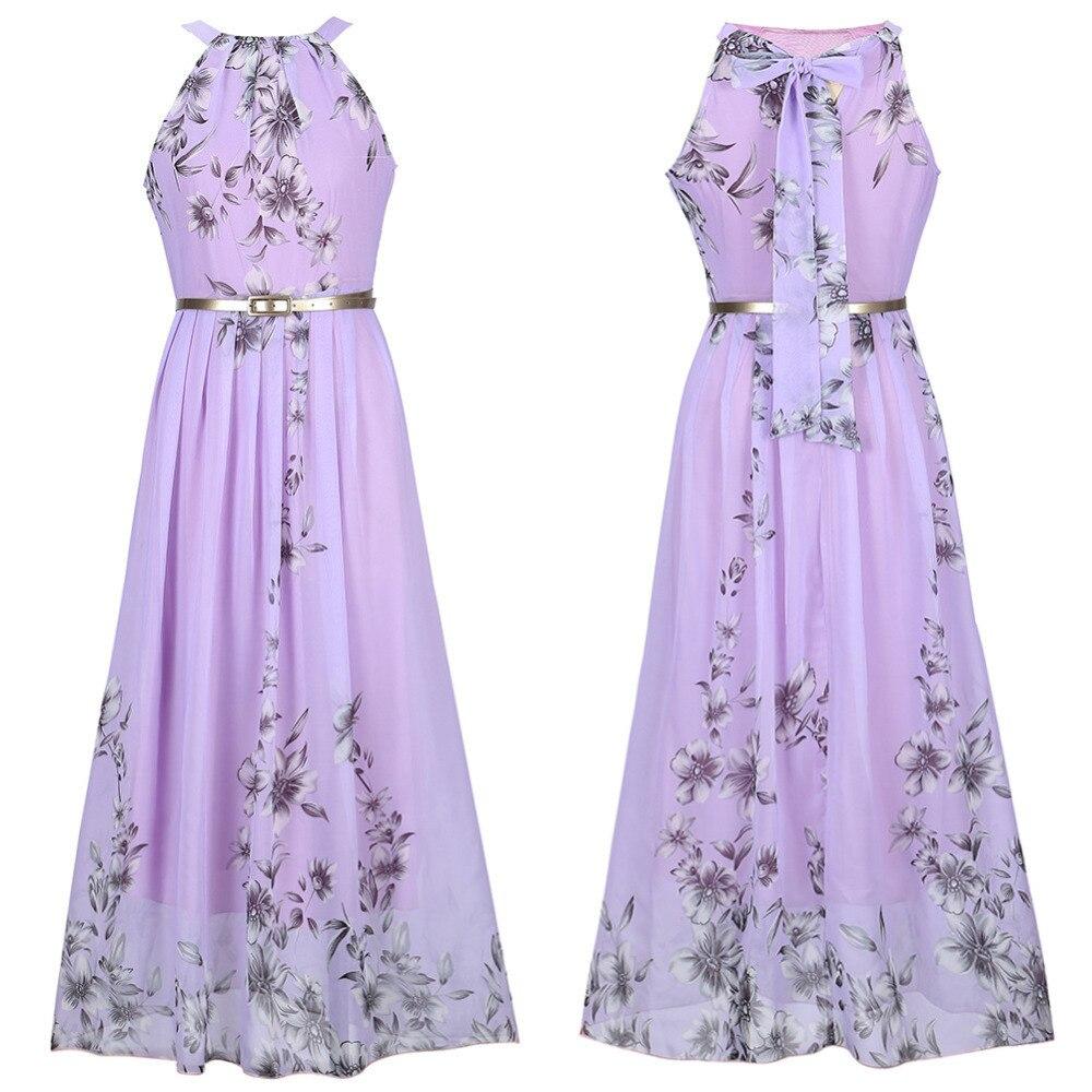 Fashion Floral Print Halter Chiffon Bohemian Long Dress Women Elegant Sundresses Maxi Dresses Vestido Casual Beach Summer Dress