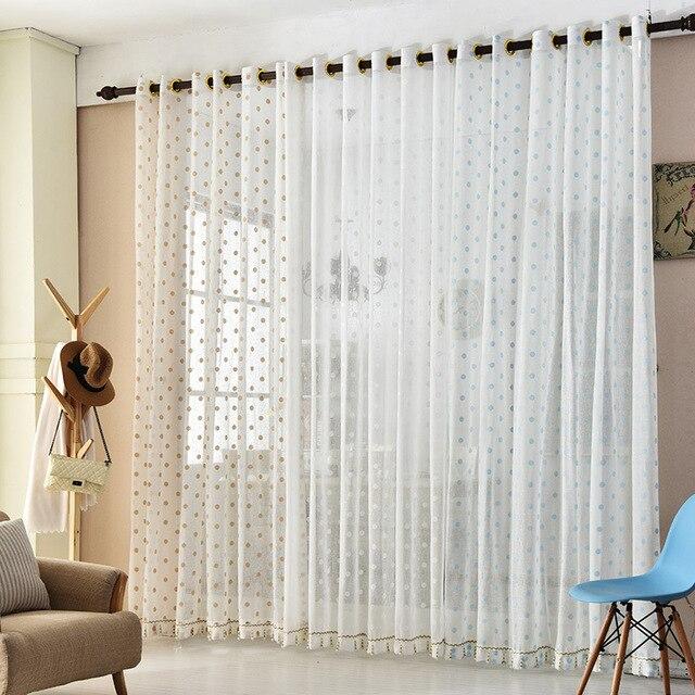 Europäische Weiß Bestickt Voile Vorhänge Schlafzimmer Gardinen für