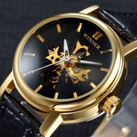 Winner 2017 Top Brand Luxury Men Skeleton Watches Leather Brand Transparent Case Self Wind Automatic Mechanical