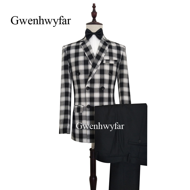 2019 Fashion Gwenhwyfar Elegant Men Patter Check Suits 2019 Grey Black White Business Men Formal Suits For Party Prom Wedding Groom Tuxedos