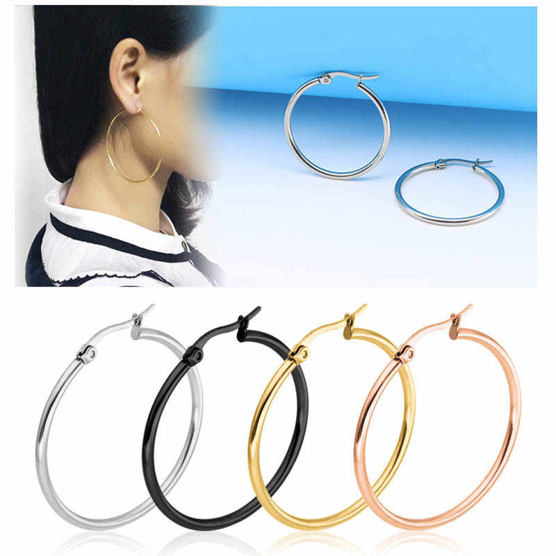 Fashion Big Smooth Circle Hoop Earrings for Women 10-75mm Stainless Steel Round Statement Earrings Party Girl Gift Jewelry