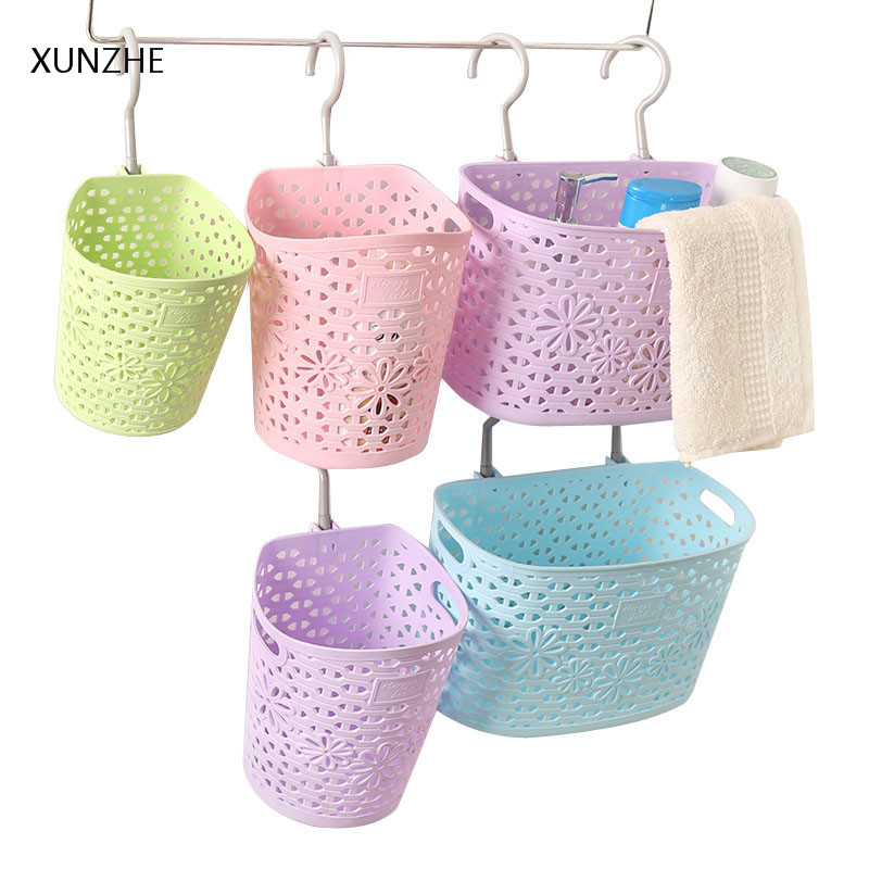 XUNZHE Fashion Hollow Little flowers Can Hang Storage Basket Rotating Hook Sundries Box Cosmetics Stationery Jewelry Organizers