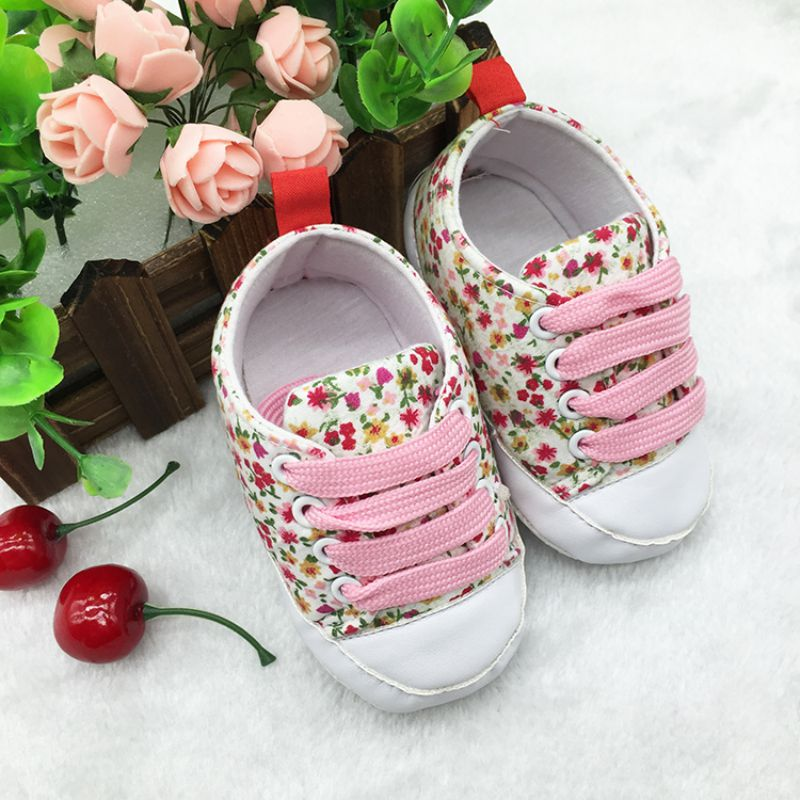 New Infant Toddler T-tied Soft Soled Anti-slip Newborn Baby Canvas Floral Shoes
