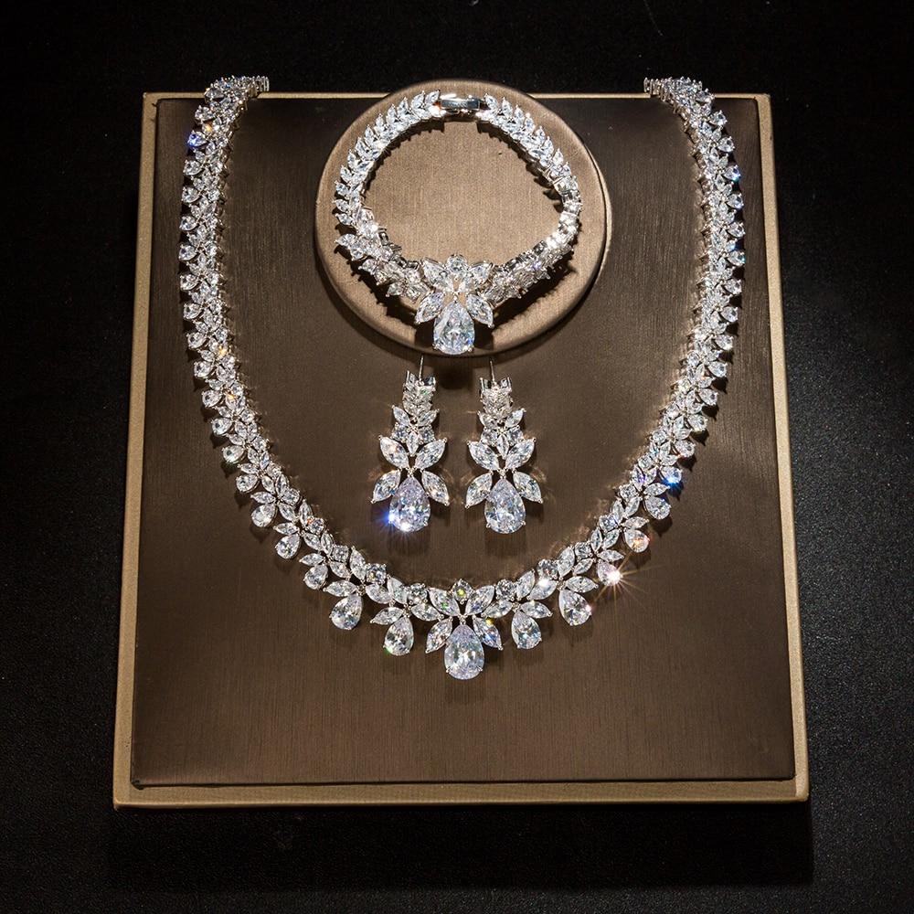 Hadiyana Bijoux hembra conjunto de joyería de la boda establece para las mujeres brillante AAA Zircon de moda de cobre joyería de dama de honor de CN184 - 3