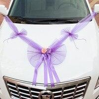 360cm Gauze Bowknot Foam Rose Wedding Car Decoration Marriage Room Decor Purple Blue Red Pink