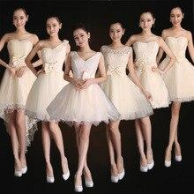 Kısa gelinlik modelleri 2016 Sempatik Bow Lace Up Şampanya Ucuz Yüksek kalite balo elbise parti elbise