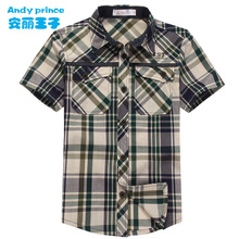 Free Shipping Boys Summer Short sleeve Shirt Childrens Clothing Green Red  Plaid Shirts Cotton Summer Kids Turn down Collar