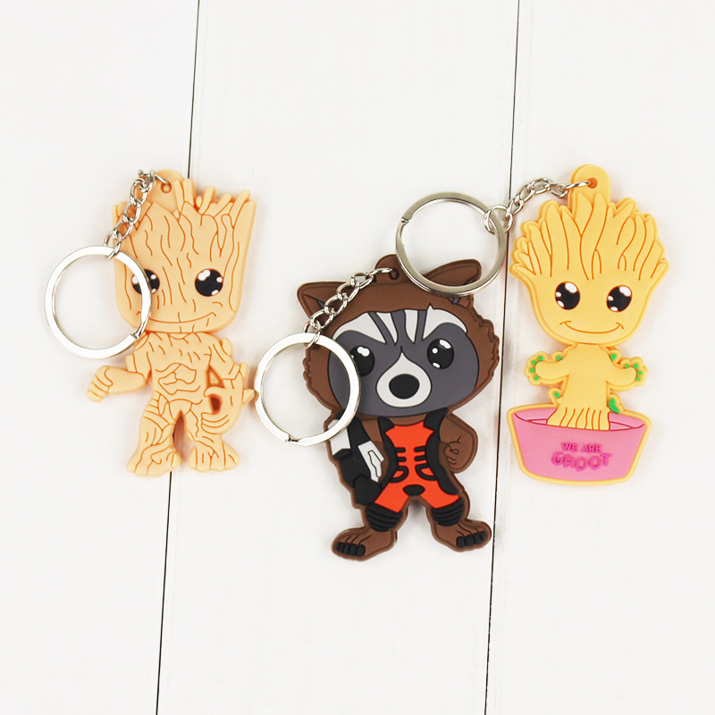 Guardians of the Galaxy Rocket Raccoon Zinc Alloy character Keychain alien Key chains movie jewelry accessories