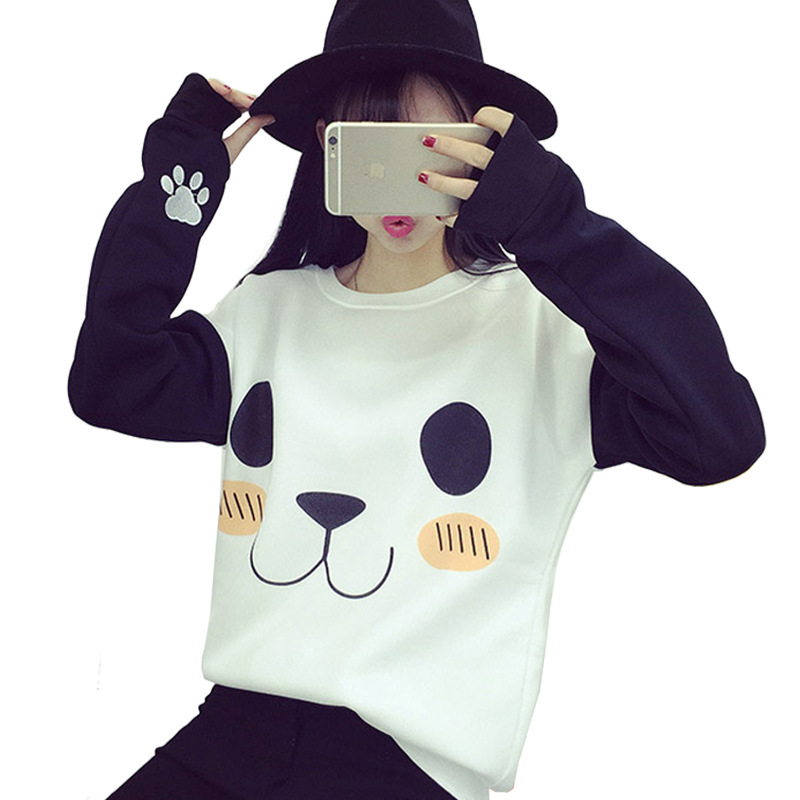 2018 New Hoodies Hot Sale Kawaii Harajuku Sweatshirt Women Cartoon Panda Printed O-neck Long Sleeve Loose Fashion Causal Outwear