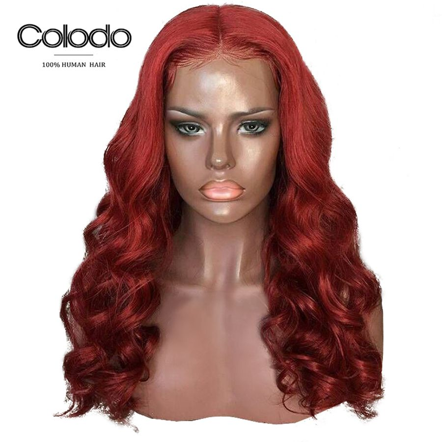COLODO Orange Red Human Hair Wig Brazilian Remy Deep Wave Wig With Baby Hair Glueless Green