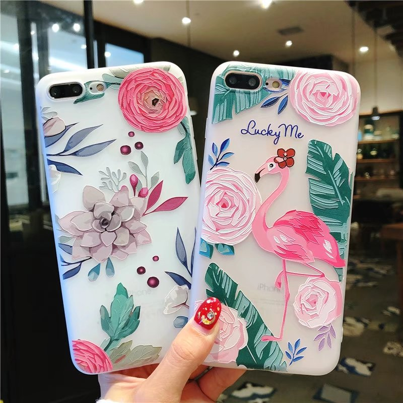 Galleria fotografica 3D Relief Floral Phone Case For iPhone 6s 7 Case Retro Girly Soft Silicon Cover For iPhone 6 S Cases For iPhone 7 8Plus