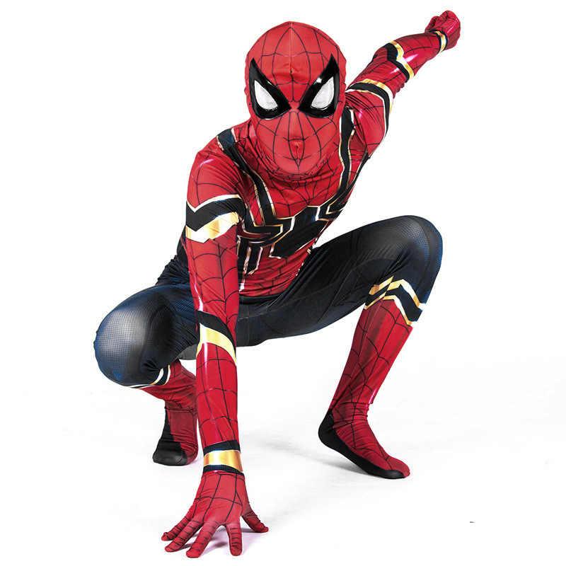 Niños Spiderman Homecoming Cosplay disfraces Zentai Iron Spider Man superhéroe mono vengadores traje de guerra mono