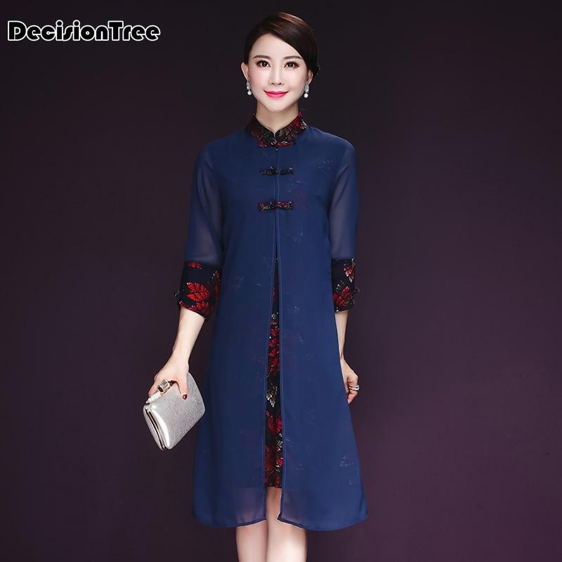 2019 new silk dress women flora print chinese traditional dress cheongsam qipao chinese oriental knee length chiffon dresses