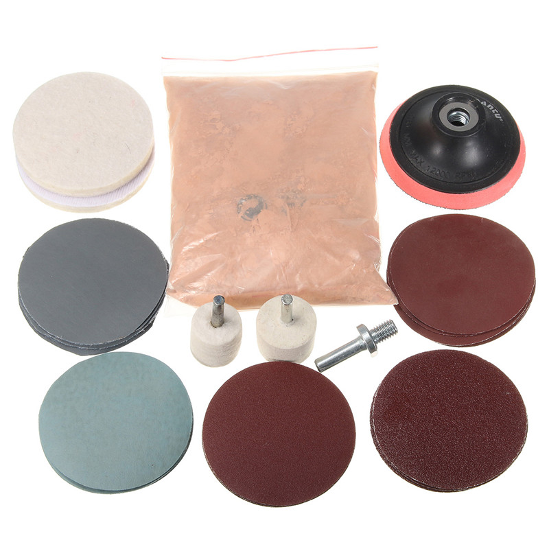 230g Cerium Oxide Polishing Powder And Felt Polishing Wheel Pad Drill Adapter For Watch Car Glass Scratch Cleaning Polishing Kit