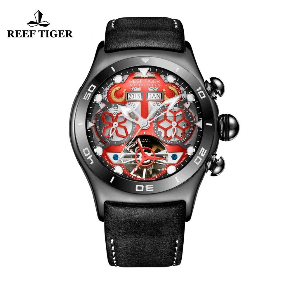 Reef Tigre/RT di Sport del Mens Orologi di Scheletro Quadrante e Le Mani Anni Data Mese Giorno Vigilanza Luminosa In Acciaio Nero Automatico orologio RGA703
