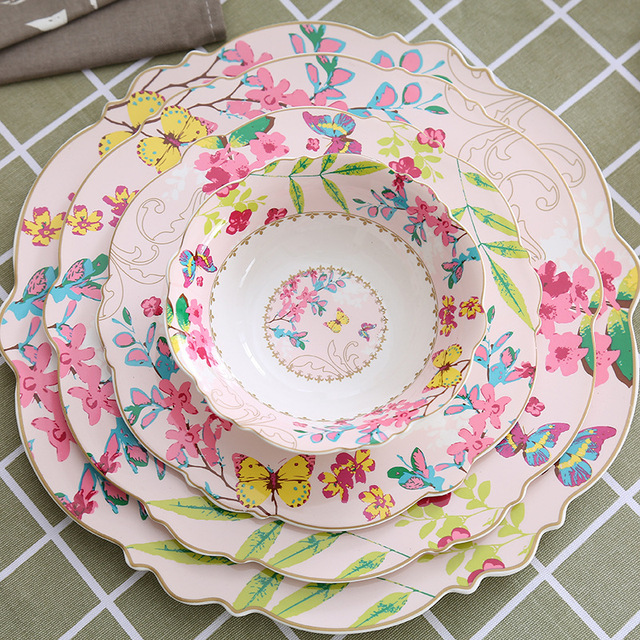 European Ceramic Tableware Western Food Pink Steak Plate Dinner Plate Food Tray Cup and Saucer Soup & European Ceramic Tableware Western Food Pink Steak Plate Dinner ...