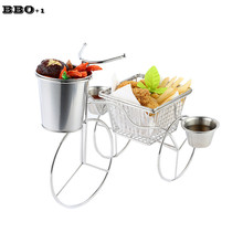New Hotel Restaurant Features Creative Tableware Food Rack Tricycle Snack Potato Strip Stainless Steel 304 Snack Basket