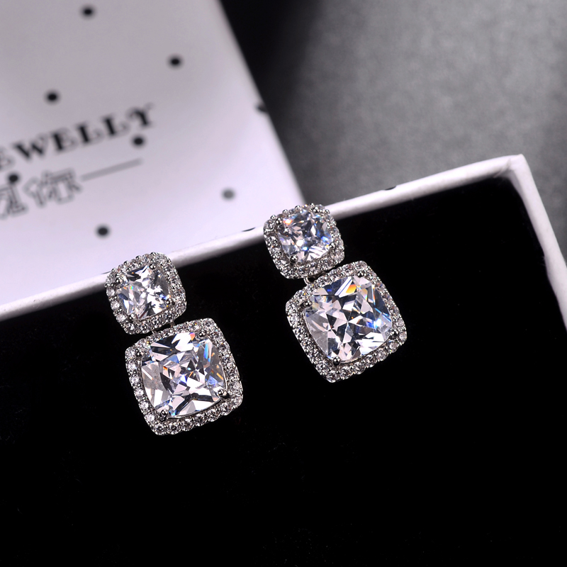 2018 New Arrival Shiny Square CZ Zircon Dangle Earrings For Women Fashion Silver Color Big Brand Earring Brincos
