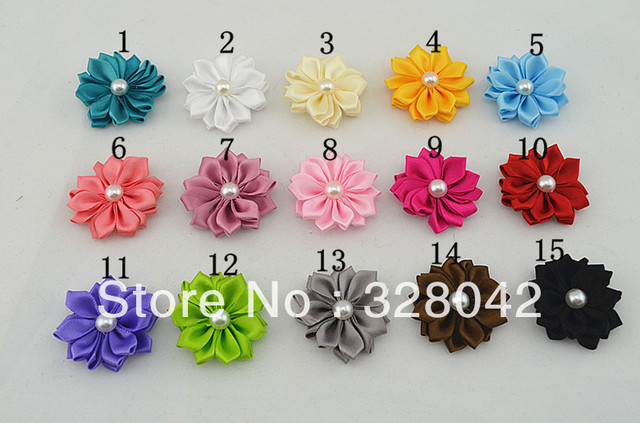Trail order girl small pearl Satin Ribbon layered Flower DIY Flowers without clip Headbands Accessory 100pcs/lot
